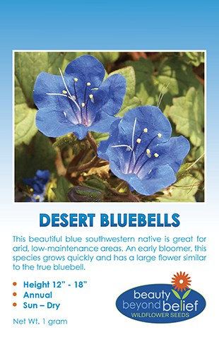 Tag for Desert Bluebells packet.