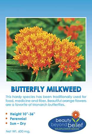 Tag for Butterfly Milkweed packet.