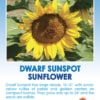 Tag for Dwarf Sunspot Sunflower packet with compact foliage and oversized flower heads with sunny yellow petals.