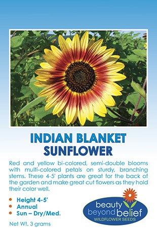 Tag for Indian Blanket Sunflower packet with rings of red and yellow petals.