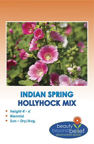 The front of the Indian Spring Mix Hollyhock packet.