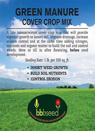 Label for the Green Manure cover crop mixture.