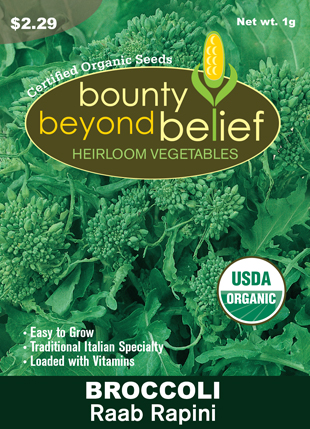 Front of the Rapini Raab Broccoli seed packet.