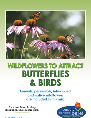 Wildflowers to attract butterfly and birds seed packet.