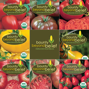 Photo of the 8 packets in the heirloom tomato collection.