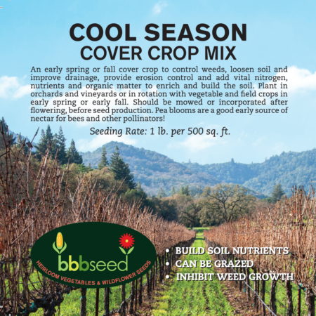 Label for the Cool Season Cover Crop mix.
